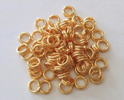 Split Ring - 6mm - 75 pcs. - 24kt Gold Over Copper<br>GCBK104-6