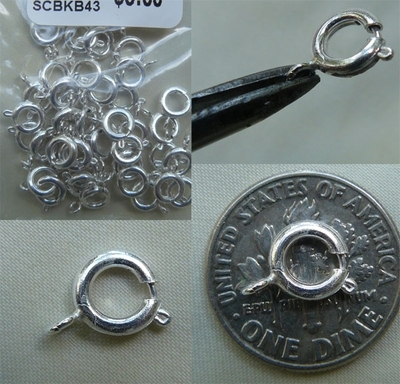 Spring Ring Clasp - 5mm: 45 Pieces - 7mm: 33 Pieces - .999 Silver Over Copper<br>SCBKB13