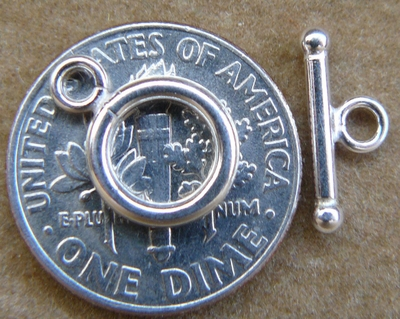 Toggle Clasp - 9mm w/ 12mm Bar - Sterling Silver