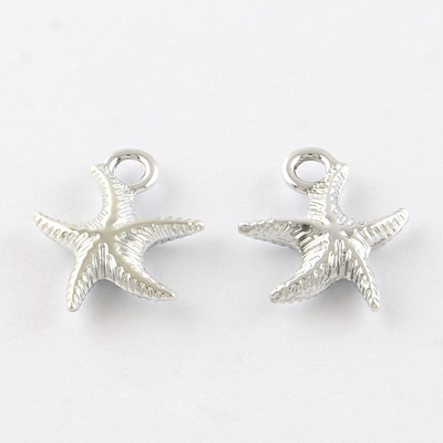 Starfish Alloy Charms, Platinum, 15x13x3mm, Hole: 2mm