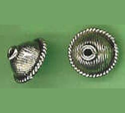 Bali Style Bead Cap - 10mm - 2 Caps - Sterling Silver<br>BC22