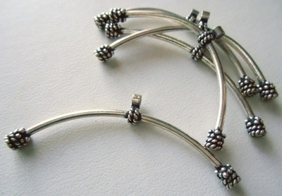 Curved Tube w/ Connector - 2x57mm - 5 Pieces - Sterling Silver<br>CT-37