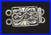 Double Strand Clasp - 11x15mm - 1 Clasp - Sterling Silver<br>EI2739