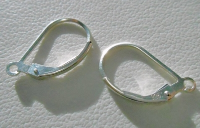 Lever Back with Open Ring - 2 Pieces - Sterling Silver 10x16mm