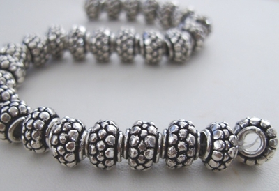 Textured Large-Hole Bead - 10mm - 28 beads - .999 Pure Silver Over Copper<br>SCBK704