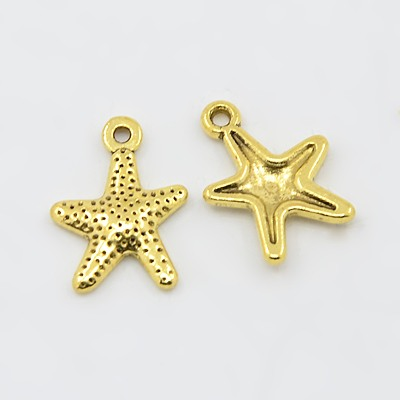 Tibetan Silver Starfish Charms, Antique Golden, Lead Free & Cadmium Free; 16x12mm, Hole: 1mm