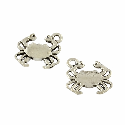 Tibetan Style Alloy Crab Pendants, Cadmium Free & Lead Free, Antique Silver, 15x16.3x2mm, Hole: 2mm