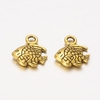 Tibetan Style Charms, Lead Free & Cadmium Free & Nickel Free, Fish, Antique Golden, about 10mm long, 10mm wide, 2mm thick hole: 2mm