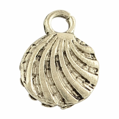 Tibetan Style Charms Pendant, Shell, Lead Free & Nickel Free, Antique Silver, 13x9.5x2.5mm, Hole: 2mm