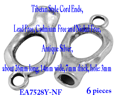 Tibetan Style Cord Ends.  6 pieces