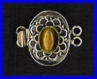 Tiger Eye and Sterling Silver Two Strand Clasp