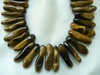 "Tiger Eye - Top-side Drilled Peanut beads 10x30mm 16"" strands"