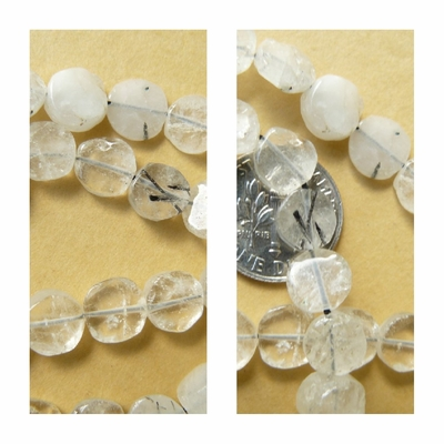 Tourmalated Quartz Beads Flat Round 3x8mm Discs