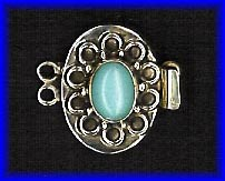 Turquoise and Sterling Silver Two Strand Clasp