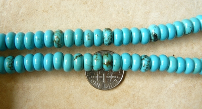 Turquoise Roundel 8x5mm Beads 16 inch Strands