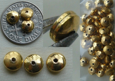 Vermeil Bead - 5x3mm - 40+ beads Gold over Sterling Silver - Vermeil<br>GB8
