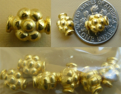 Bead Vermeil- 6x9mm - 6 beads Gold over Sterling Silver