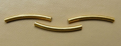 Vermeil Curved Tube 1.5x11mm 25 Pack Gold over Sterling