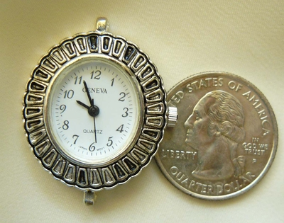 Watch Face with Antique style Silver Band 25x27mm Band