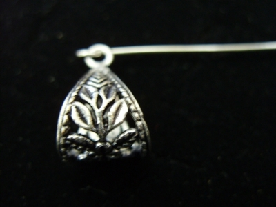 Flower and Leaf Detail Wiggle Tail Bail - 12x16mm - 6 Pieces - .999 Silver Over Copper
