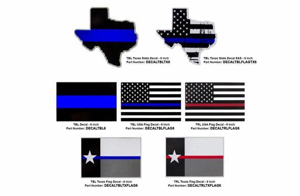 Decals - 6 inch - Texas / US / Blue / Red