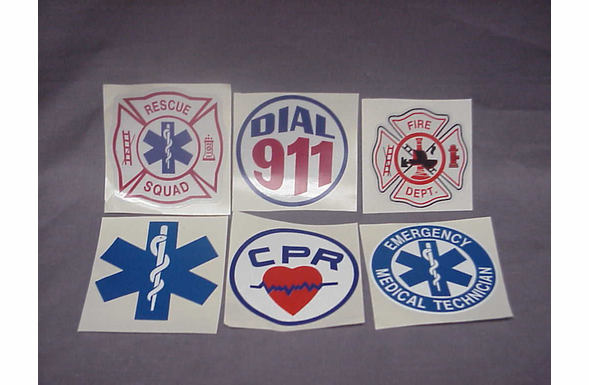 Window Decals - Firefighter, Star Of Life, Dial 911, CPR, EMT