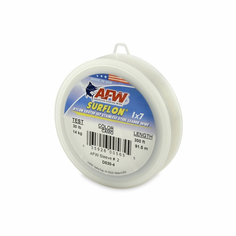 Afw d030 4 30lb surflon nylon coated 1x7 ss leader wire for American fishing wire