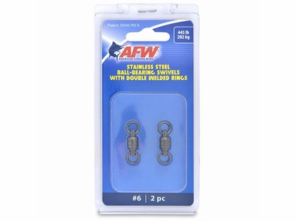 AFW FWV06B-A Size #6 445lb Stainless Steel Ball Bearing Swivels, 2pc