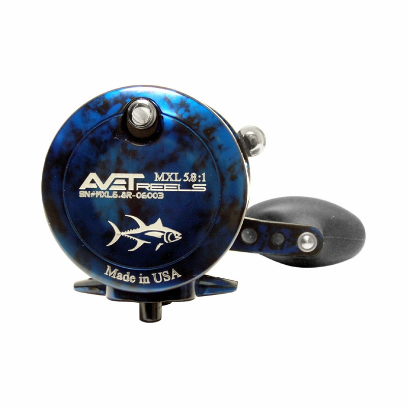 Avet MXL 58 Single Speed Lever Drag Casting Reel Blue Black Camo