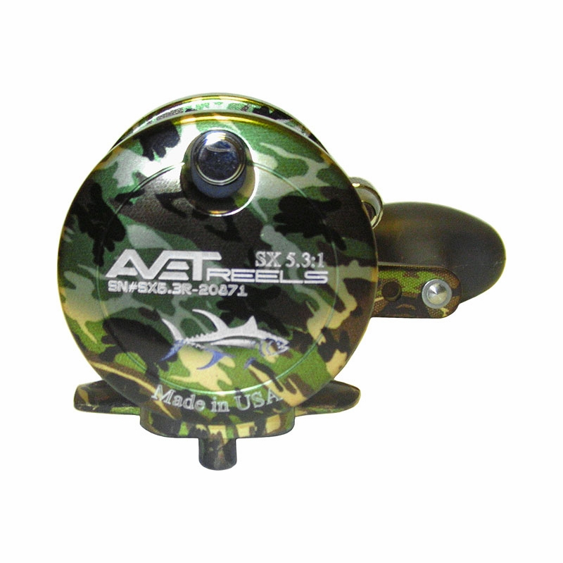 Avet SX 53 Single Speed Lever Drag Casting Reel Green Camo
