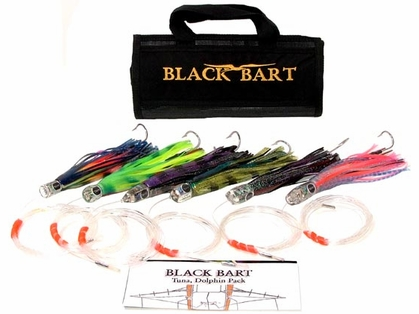 Black Bart Lures Tuna/Dolphin Rigged Trolling Pack Single Hooks