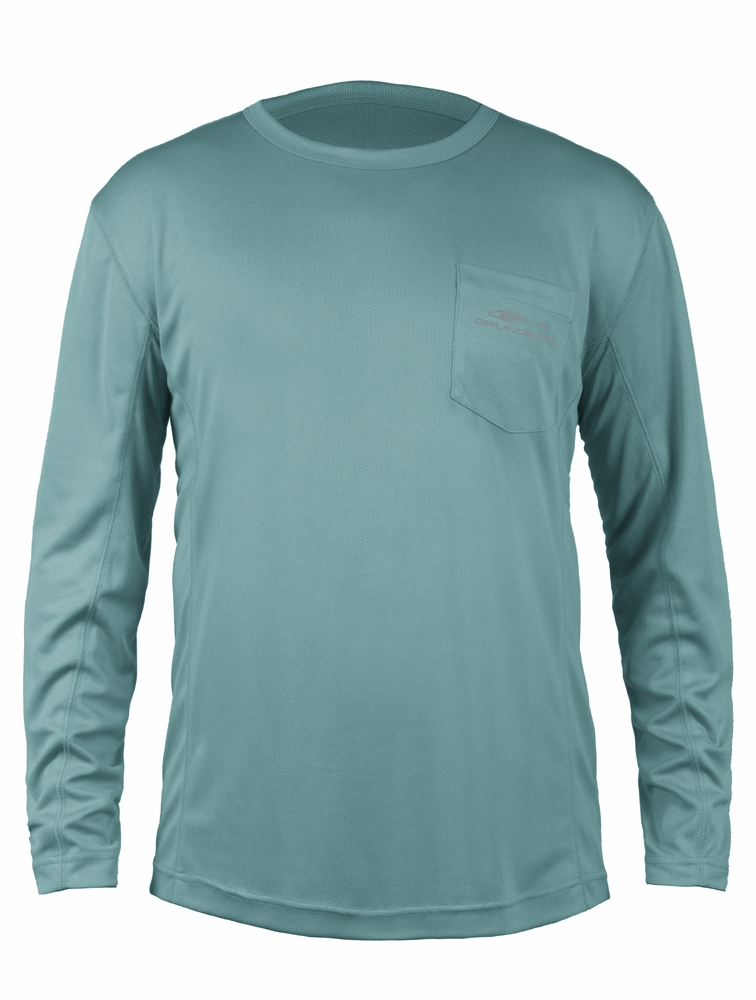 Grundens fish head long sleeve shirt dusty turquoise for Fishing long sleeve shirts
