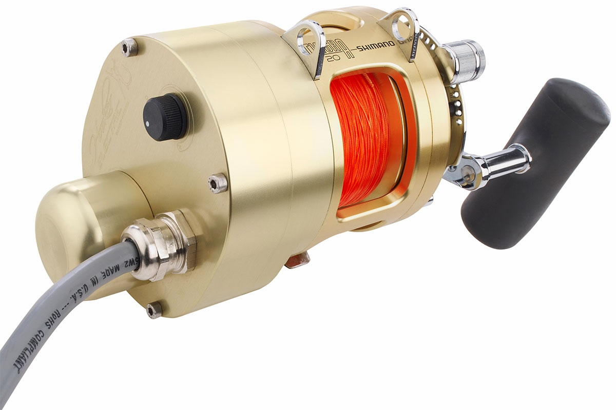 Hooker shimano tiagra 20a w electric reel motor for Electric fishing rod