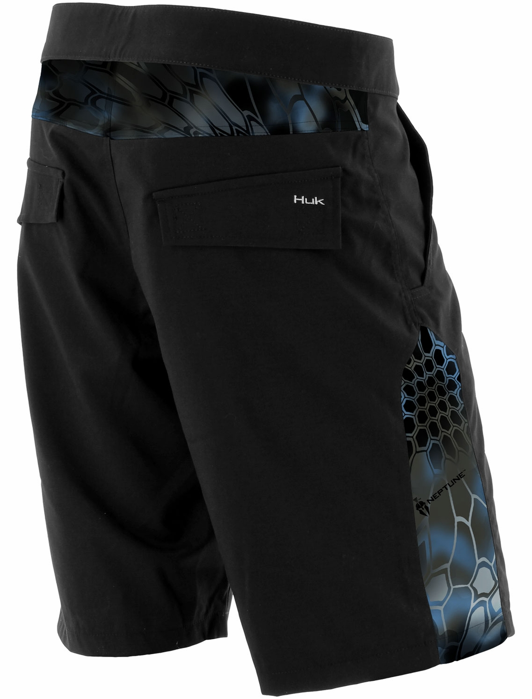 Huk kryptek board shorts black neptune tackledirect for Huk fishing shorts