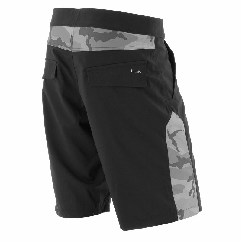 Huk performance fishing huk camo boardshorts black grey camo for Huk fishing shorts