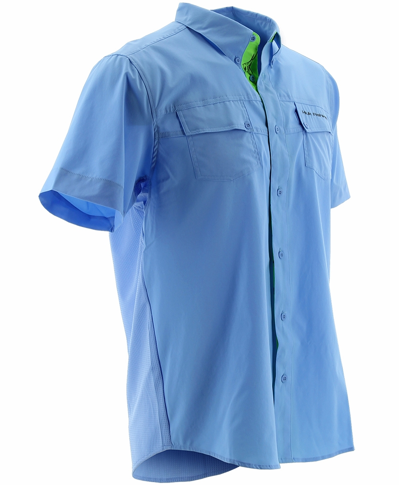Huk phenom short sleeve woven shirt carolina blue for Huk fishing shorts