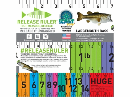 Largemouth bass release ruler decal tackledirect for Fish ruler sticker