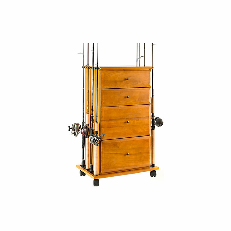 Organized fishing fdc 004 drawer cabinet rod holder for Fishing rod storage cabinet