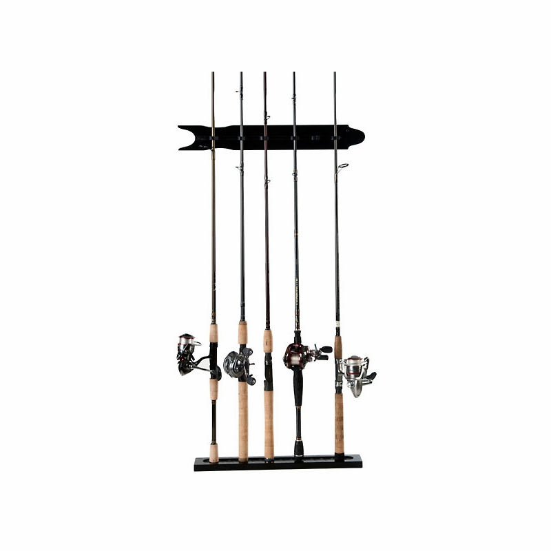 Organized fishing mwr 8 rod modular oak wall rack for Fishing rod wall rack