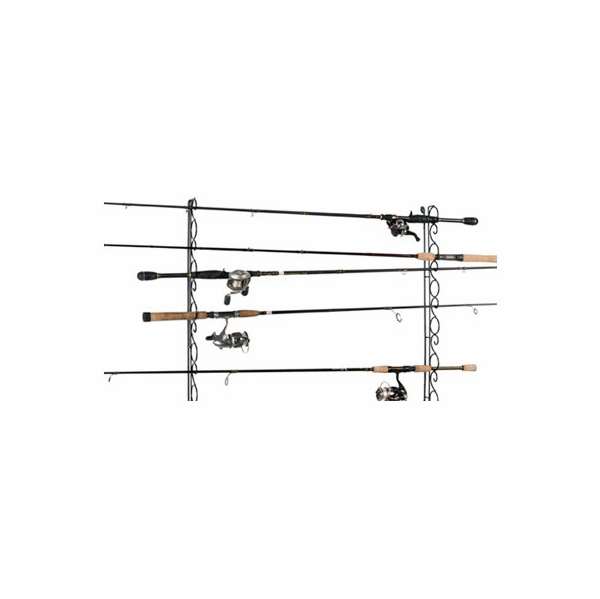 Organized fishing whr 9 rod ceiling wall wire rack for Fishing wire through ceiling