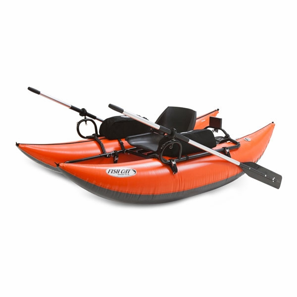 Outcast fish cat streamer inflatable pontoon boat for Inflatable pontoon boat fishing