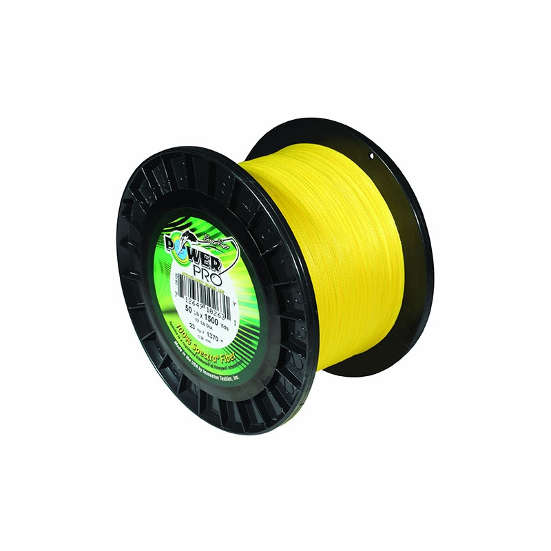 Power pro 30lb 1500yds braided spectra fishing line hi vis for Power pro fishing line