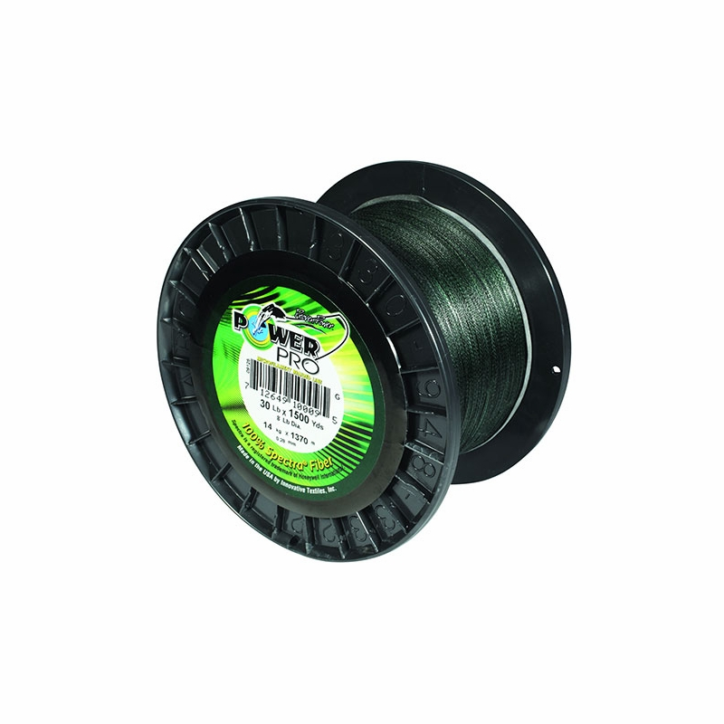 Power pro 65lb 500yds braided spectra fishing line moss green for Power pro fishing line