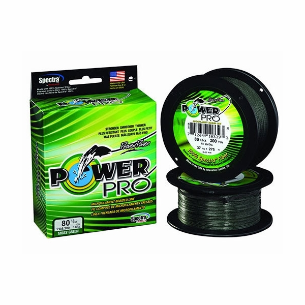 Power pro 65lb 1500yds braided spectra fishing line moss green for Green fishing line