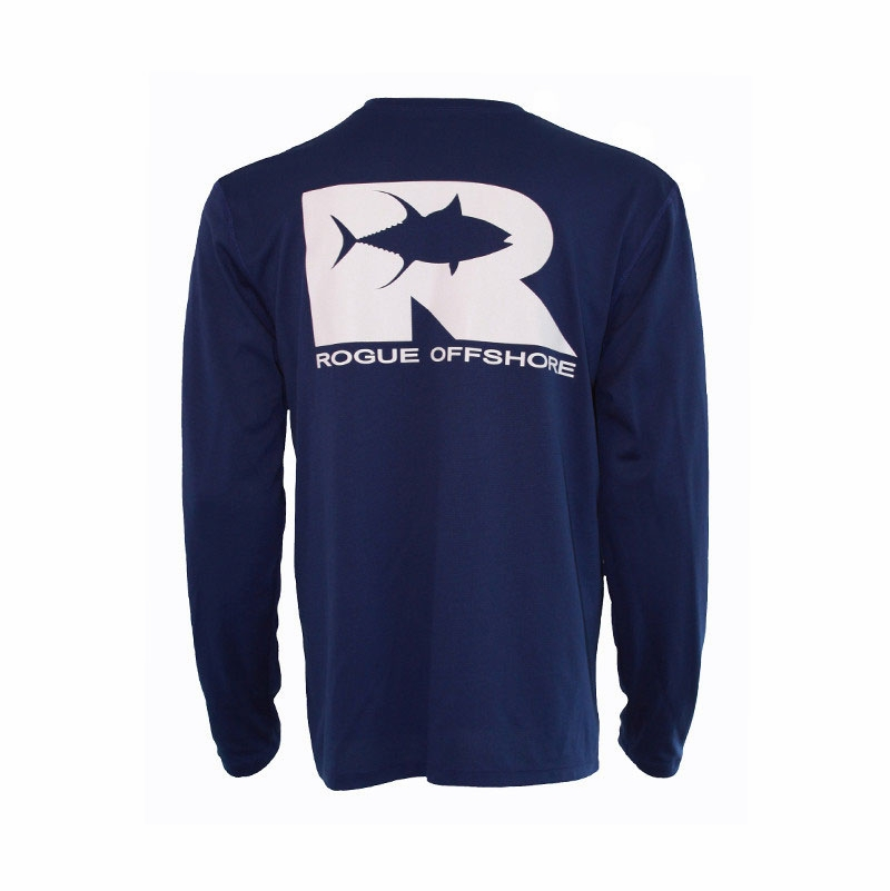 Rogue offshore tuna ls performance shirt cobalt white for Offshore fishing apparel