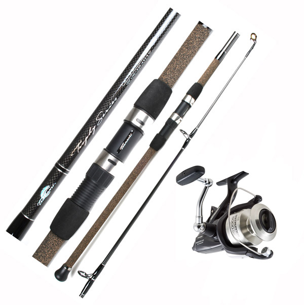 Tsunami trophy tstss 1102h shimano btr8000oc baitrunner for Surf fishing rods and reel combos