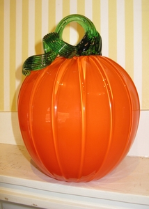 Large Hand Blown Glass Pumpkin