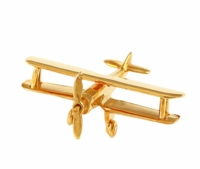 14K Gold Biplane Airplane Pendant Jewelry