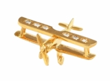 14K Gold Diamond Airplane Pendant Jewelry