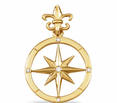 gold with wow diamond simply rose compass pendant jewelry golden stunning aviation large diamonds